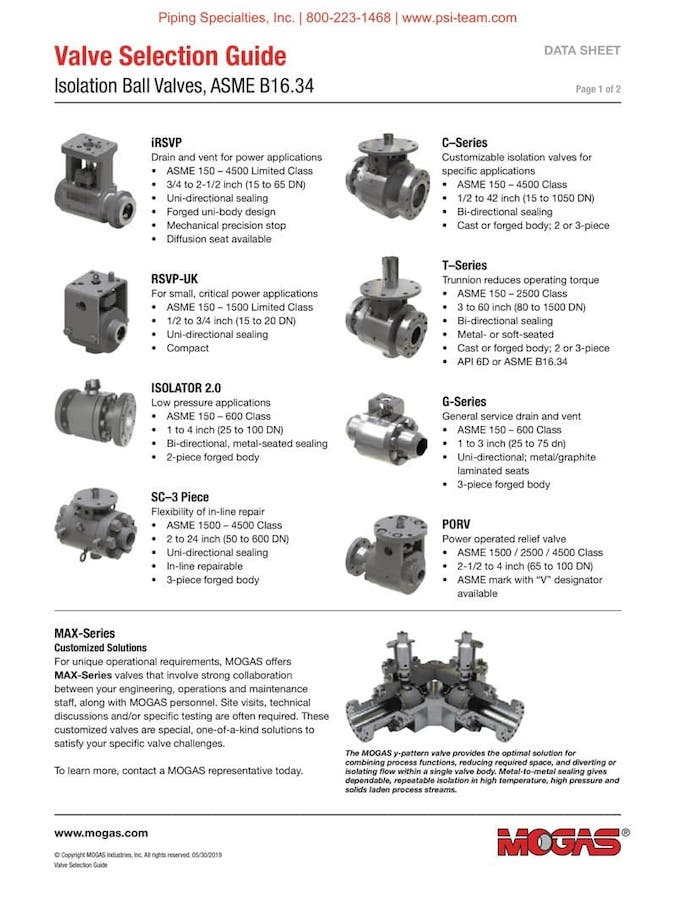 MOGAS Isolation Valves